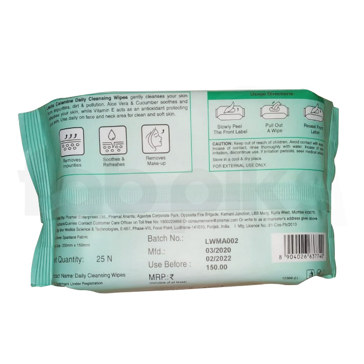 Lacto Calamine Daily Cleansing Wipes (PACK OF 3)