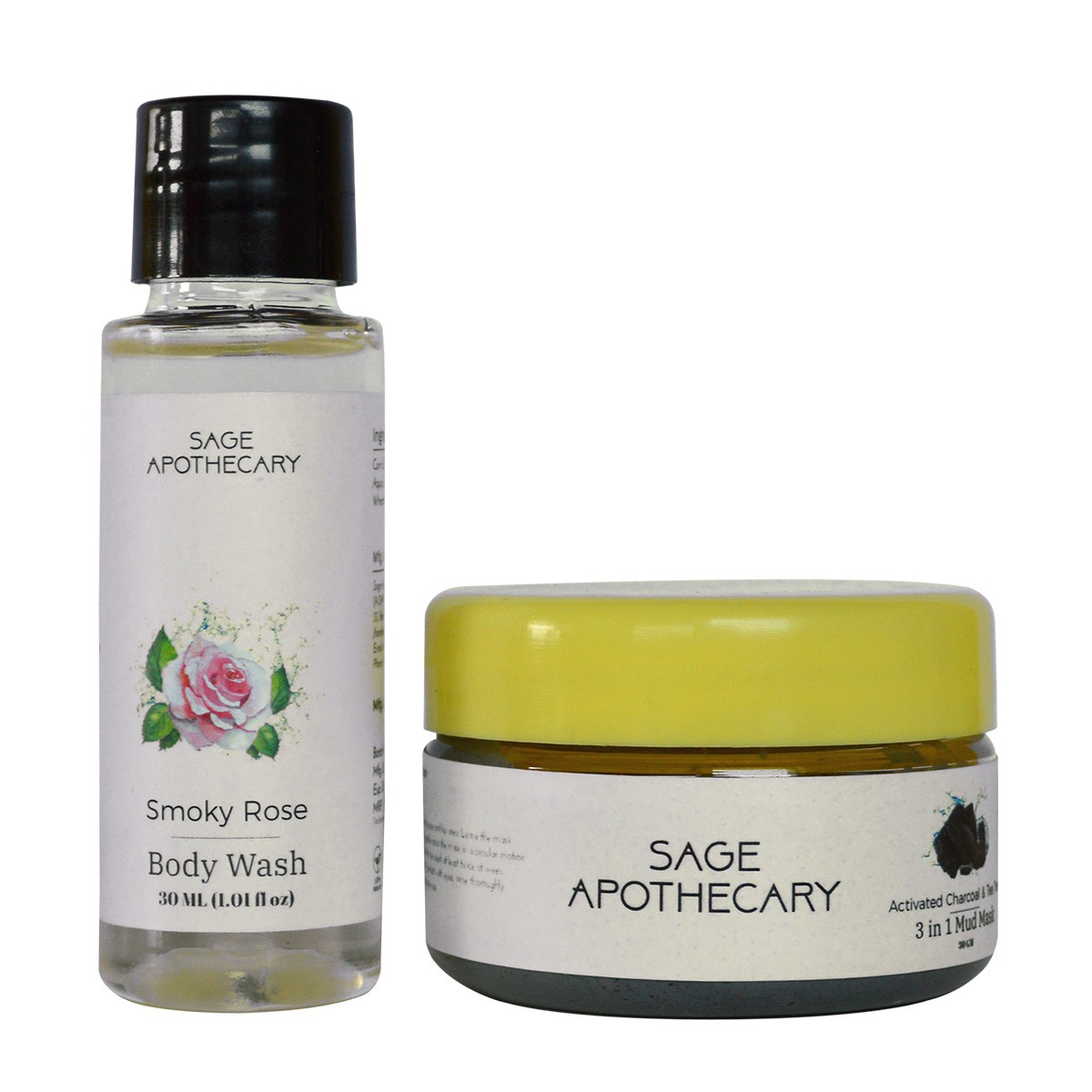 Smoky Rose Body Wash | MRP: 115 Charcoal Mud Mask | MRP: Rs. 233