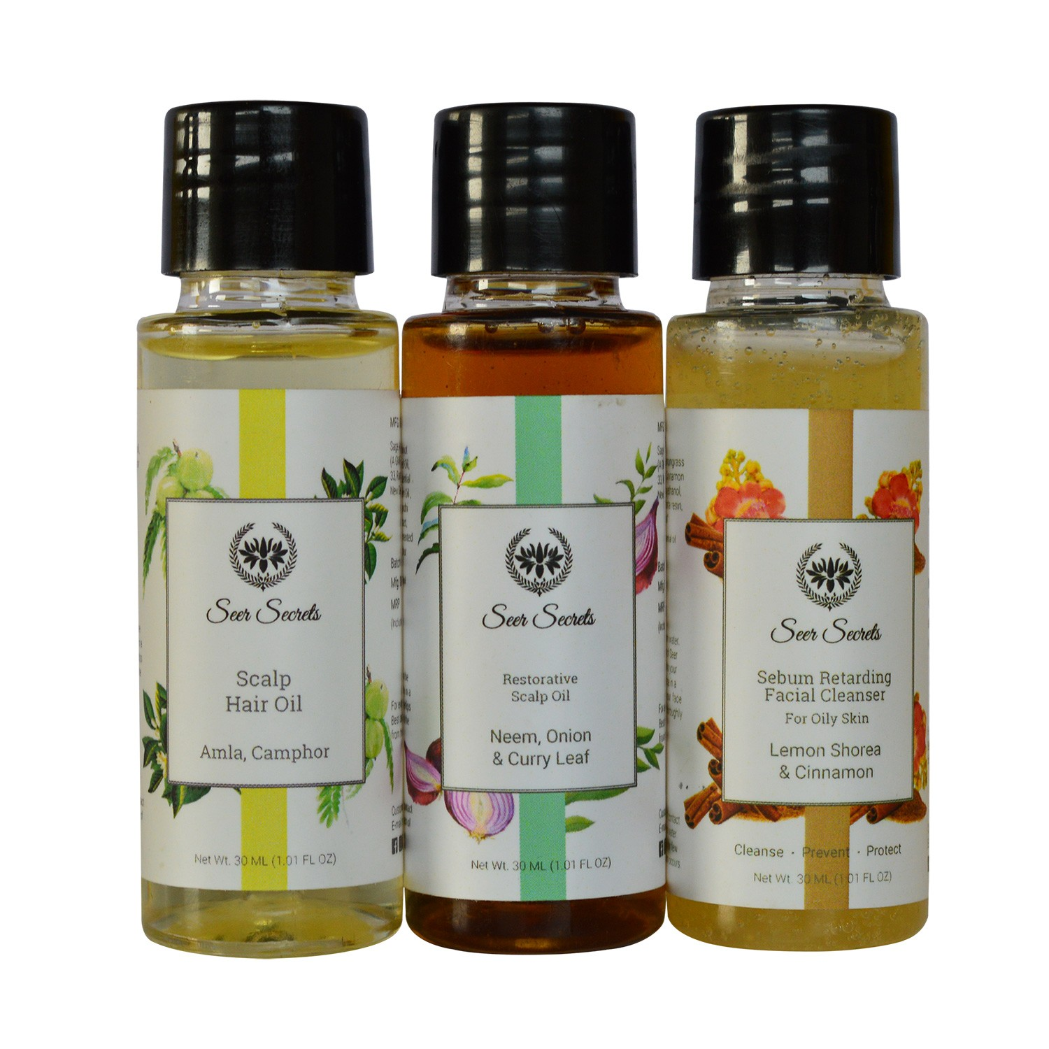 Neem, Onion & Curry Leaf Scalp Oil + Amla, Camphor Scalp Hair Oil + Lemon, Shorea and Cinnamon Facial Cleanser