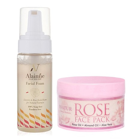 Alainne - Licorice & Rose Facial Foam + Inatur - Rose Face Pack | MRP Rs. 550