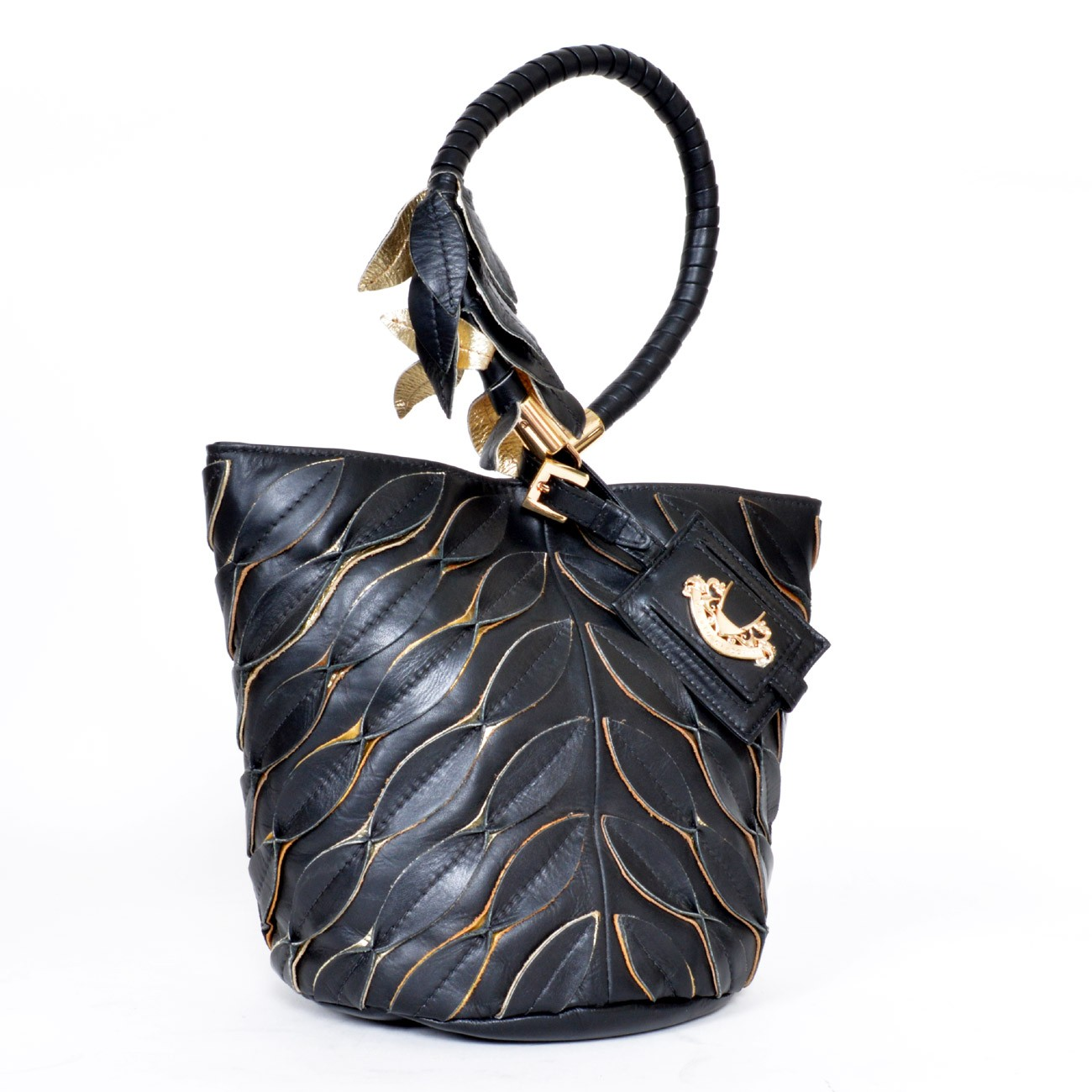 Alberto Ciaschini Handheld Bag- Black and Gold